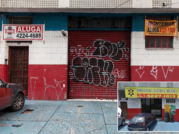 Antiga borracharia ao lado da fábrica da GM é vista à espera de locatários no centro de São Caetano, ABC Paulista (Foto: Marcelo Brandt/G1 e Google Street View)