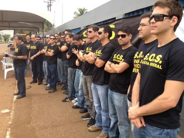 Policiais federais durante manifestação em Porto Velho (Foto: Assem Neto/G1)