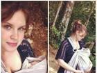 Carolinie Figueiredo leva bebê para passear em meio a árvores