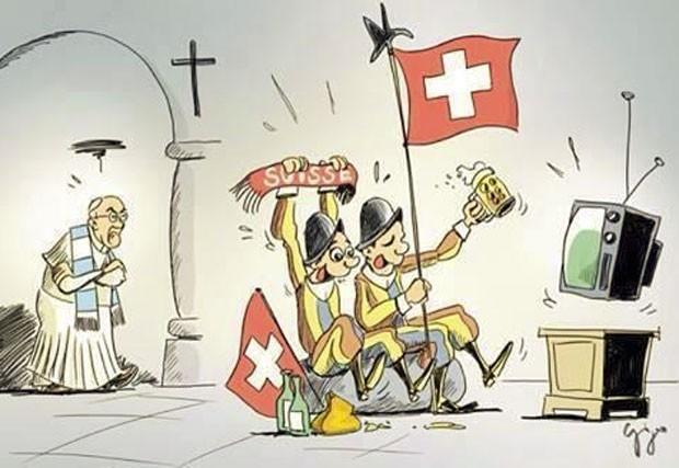 Charge publicada pelo Vaticano no dia de jogo entre Argentina e Suíça (Foto: Reprodução/Twitter/PCCS.VA)