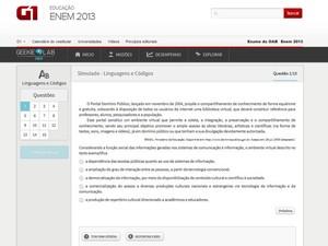 Plataforma oferece questões nos moldes do Enem (Foto: Reprodução)