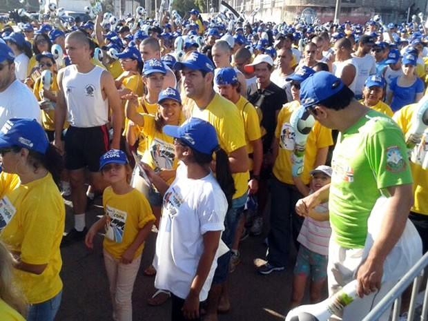 Caminhada No Clima da Copa em Cuiabá (Foto: Denise Soares/G1)