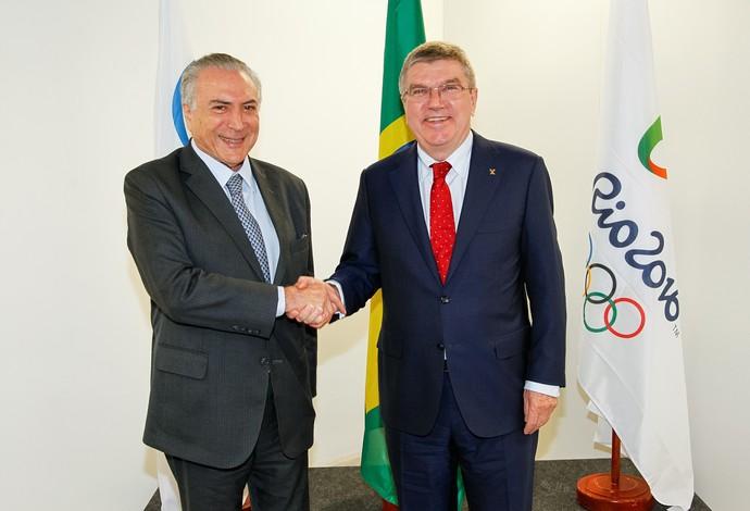 Michel Temer Thomas Bach Olimpíada Parque Olímpico (Foto: Beto Barata/PR)