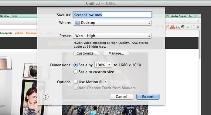 Opções de exportação de vídeo (Foto: Reprodução/André Sugai)