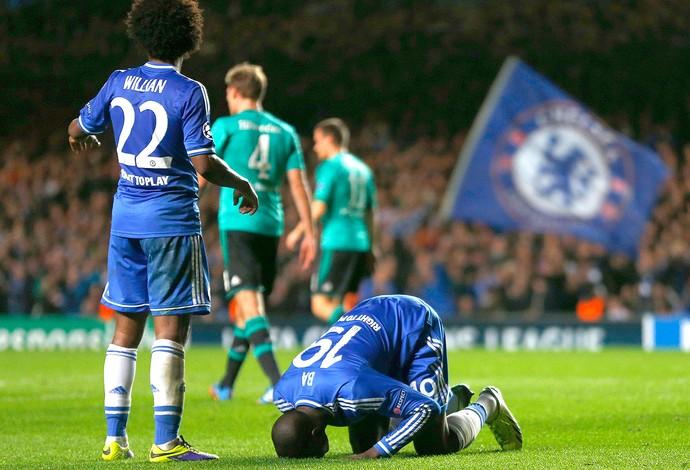 Ba comemoração Chelsea contra Schalke Liga dos Campeões (Foto: Reuters)