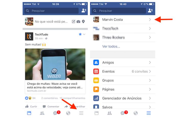 Acessando o perfil de usuário do Facebook pelo iPhone (Foto: Reprodução/Marvin Costa)