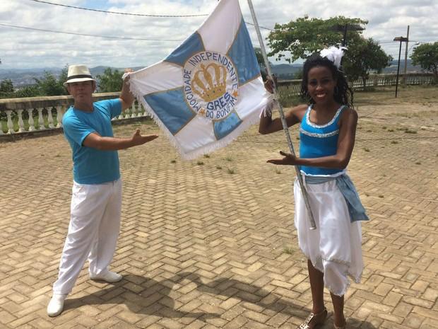 Regina e Murilo são o casal de mestre-sala e porta-bandeira da Mocidade Independente do Bonfim (Foto: Carlos Eduardo Alvim/G1)