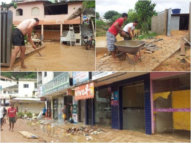 Moradores começam limpeza após chuva em Rio Bananal. (Foto: Samira Ferreira/ A Gazeta)