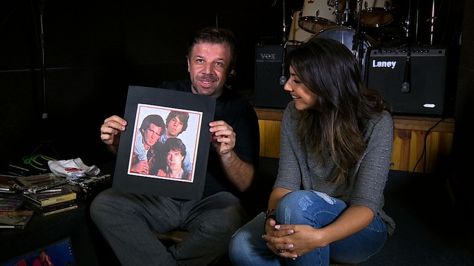 Fãs Rolling Stones Régis Mistura com Rodaika Cris Silva (Foto: Reprodução/RBS TV)