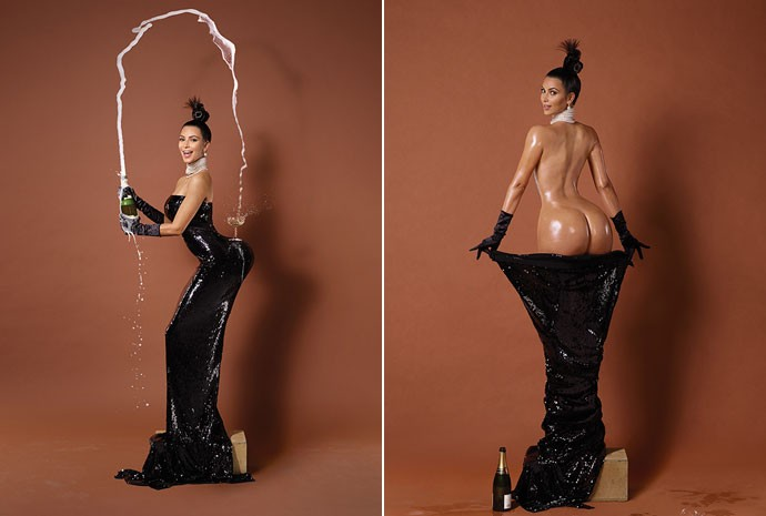 Kim Kardashian em polêmicas fotos de capa da revista 'Paper' em novembro de 2014