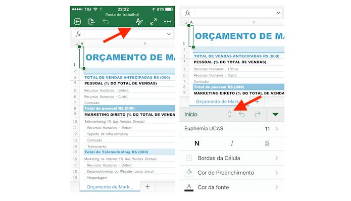 Acessando opções de escrita no Excel para iPhone (Foto: Reprodução/Marvin Costa)
