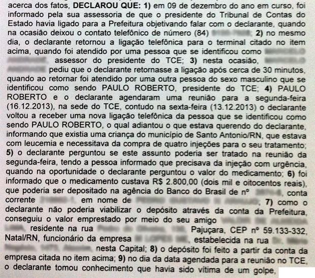 Trecho de depoimentos prestado pelo prefeito de Passagem, no qual relata ter sido vítima de um golpe em que os suspeitos usaram o nome do presidente do TCE-RN (Foto: Reprodução)
