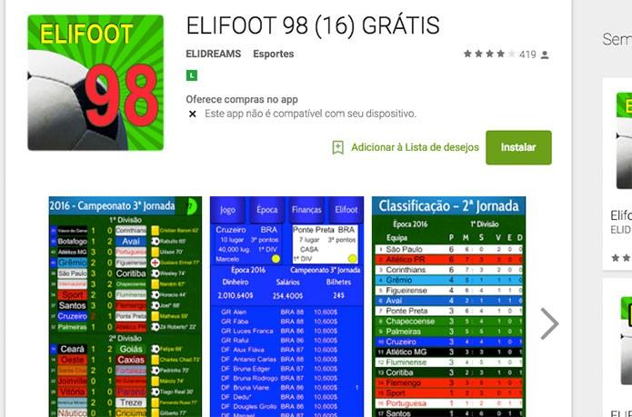 Elifoot 98 no Google Play (Foto: Reprodução/Felipe Vinha)