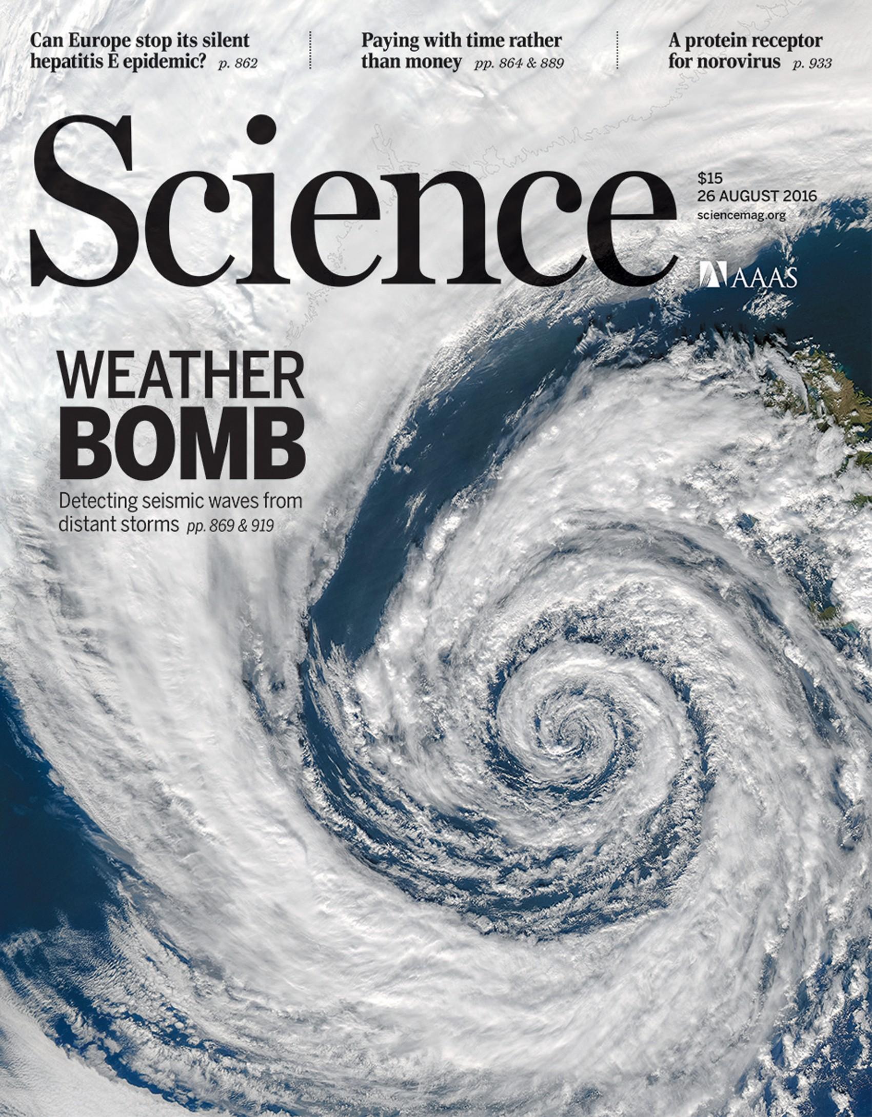 Capa da revista 'Science' desta semana destacou a pesquisa (Foto: Jacques Descloitres, MODIS Rapid Response Team, NASA/GSFC)