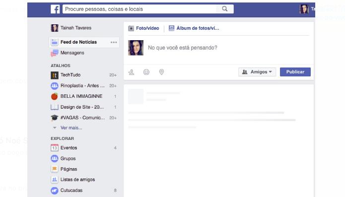 Usuários também reclamaram do feed do Facebook em branco durante o período (Foto: Reprodução/Tainah Tavares)