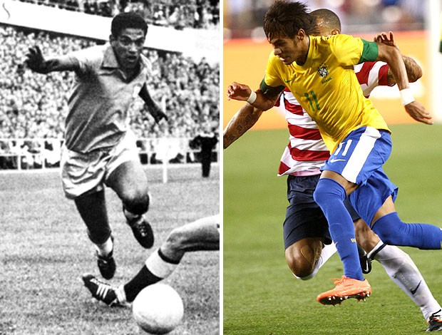 montagem Garrincha Neymar sele&#231;&#227;o brasileira (Foto: Editoria de Arte / Globoesporte.com)
