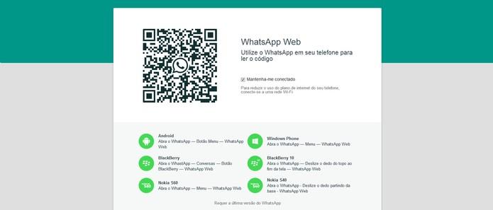 WhatsApp pode ser acessado pelo navegador mas precisa do celular para funcionar (Foto: Reprodução/Barbara Mannara)