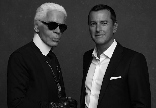 O estilista Karl Lagerfeld e Pier Paolo Righi, CEO de sua marca (Foto: Divulgação)
