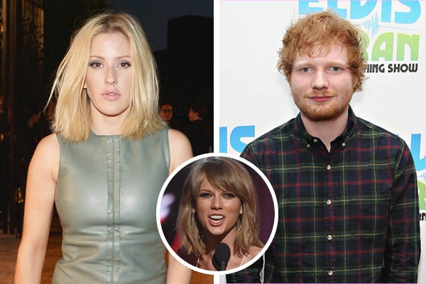 Ellie Goulding, Ed Sheeran e Taylor Swift (Foto: Getty Images)