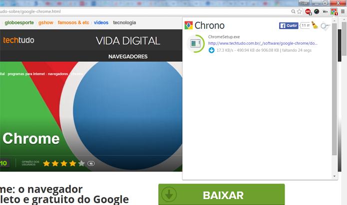 Chrono é rápido e emite notificações no desktop sempre que um download é concluído (Foto: Reprodução/Filipe Garrett)