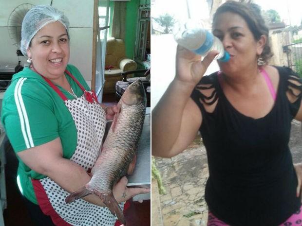 Antes e depois. Emilene largou o cigarro e passou a fazer atividades físicas (Foto: Emilene Oliveira/Arquivo pessoal)