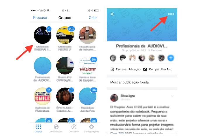 Acessando as configurações de um grupo através do Facebook Group em um dispositivo iOS (Foto: Reprodução/Marvin Costa)