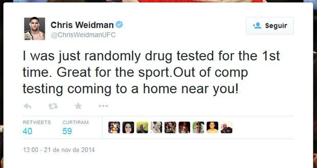 Chris Weidman cuenta que pasó por prueba de antidoping sorpresa y celebra