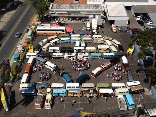Mosaico reuniu 112 kombis e seus respectivos donos (Foto: Samuel Nunes/G1)
