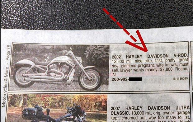 Morador do estado de Indiana publicou um anúncio criativo na tentativa de vender sua Harley Dadvidson (Foto: Reprodução/Instagram/Darth Baal)
