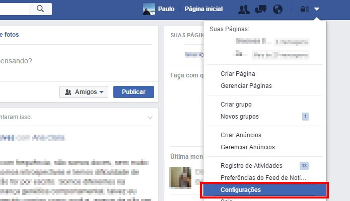 Acesse as configurações do Facebook (Foto: Reprodução/Paulo Alves)