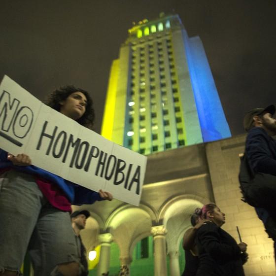 Manifestação pró-gays pós atentados em boate na Flórida (Foto: David McNew/Getty Images)