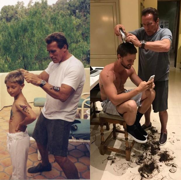 Patrick Schwarzenegger e o pai, Arnold Schwarzenegger (Foto: Reprodução/Instagram)