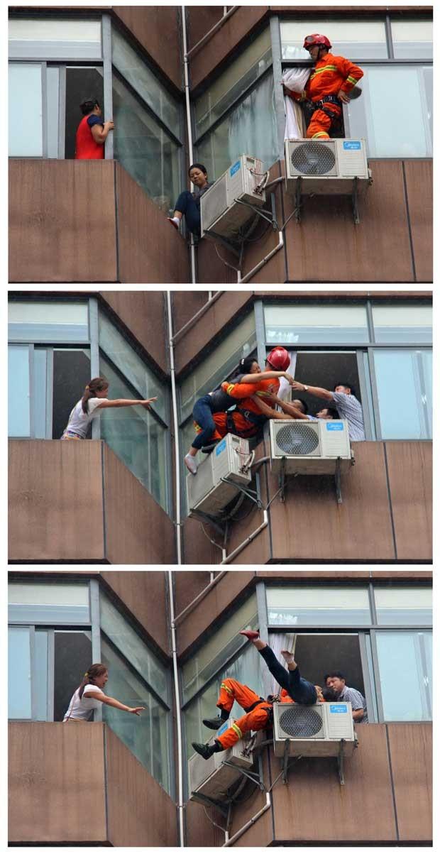 Sequência de imagens mostra o bombeiro fazendo o resgate de uma mulher que tentava se jogar do 7° andar de um hotel na China (Foto: China Daily/ Reuters)