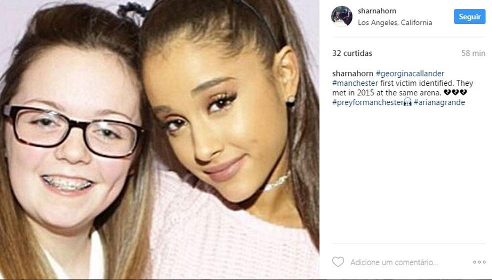 Georgina Callander, de 18 anos, que morreu na explosão postou foto com a cantora americana em 2015 (Foto: Reprodução Instagram)