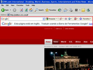 Barra do Google: tradutor.