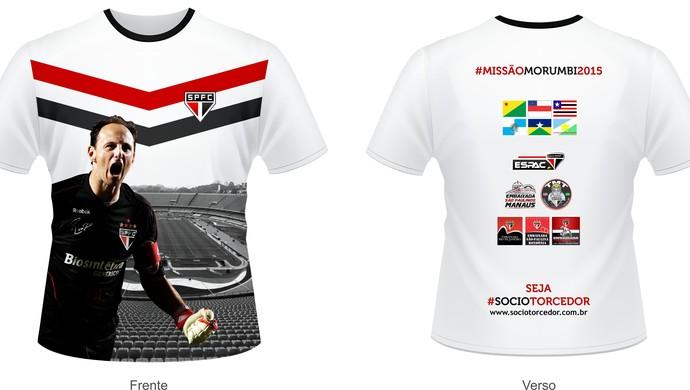 Arte da camisa que será usada por torcedores do São Paulo, no dia da partida contra o Internacional (Foto: Paulo de Carli/Arquivo Pessoal)