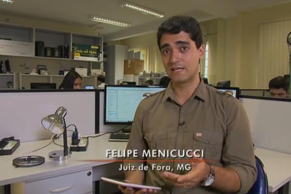 Felipe Menecucci explicou como funciona a tecnologia criada pelos estudantes (Foto: Divulgação | TV Integração )