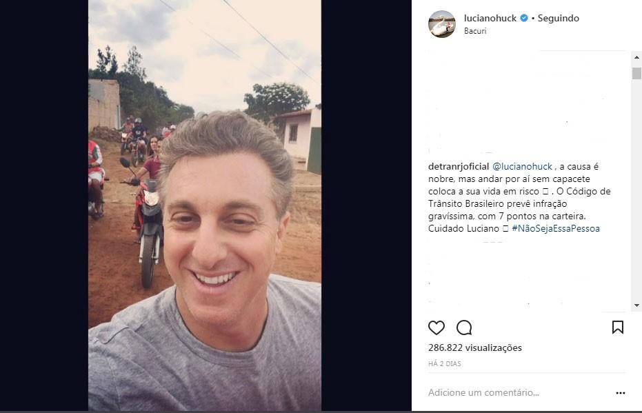 Luciano HUck e o post com a bronca do Detran-RJ (Foto: Reprodução Instagram)