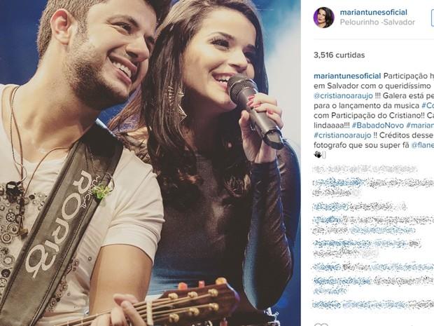 Cristiano Araújo com a cantora Maria Antunes, do Babado Novo (Foto: Reprodução/Instagram)