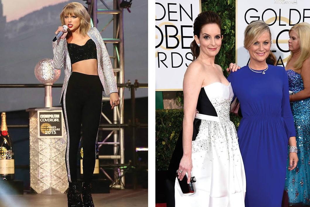 Tina Fey e Amy Poehler fazem piadas com todos em suas apresentações do Globo de Ouro. Em 2013, sobrou para Taylor Swift. No retorno do intervalo, a dupla revelou uma investida da cantora no filho do ator Michael J. Fox, enquanto passavam os comerciais da premiação. (Foto: Getty Images)