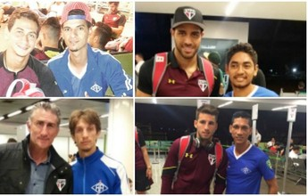 Jogadores do Atlético-AC tietam elenco do São Paulo em aeroporto
