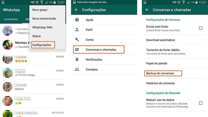 Acesse as configurações do WhatsApp pelo Android e encontre o item de Backup (Foto: Reprodução/Barbara Mannara)