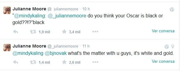 Julianne Moore comentando cor do vestido (Foto: Reprodução/Twitter)