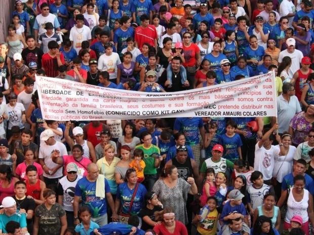 Marcha para Jesus realizada em 2011 na cidade de Manaus (Foto: Anderson Silva/G1 AM)