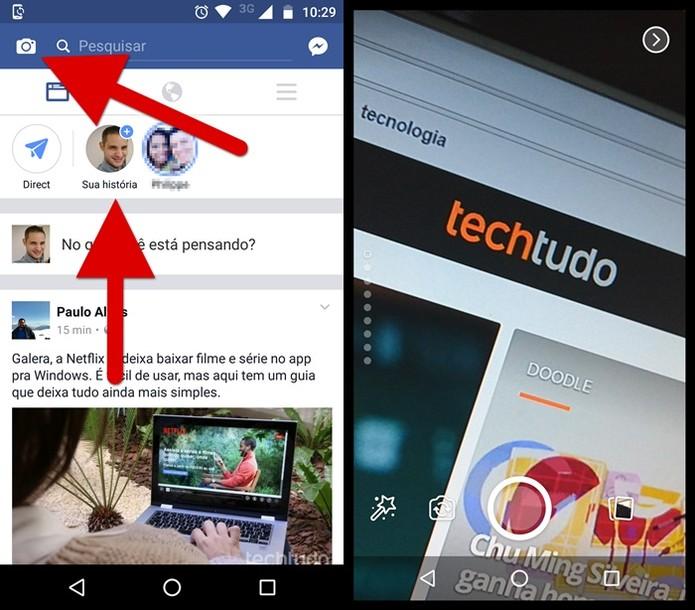 Há duas maneiras de começar uma publicação Histórias no Facebook (Foto: Felipe Alencar / TechTudo)
