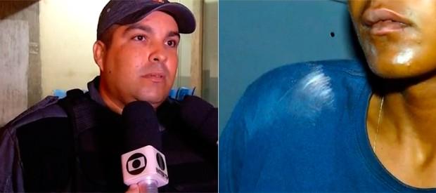 Soldado Oliveira Neto desabafou após levar suspeitos de assalto para a delegacia (Foto: Reprodução/Inter TV Cabugi)
