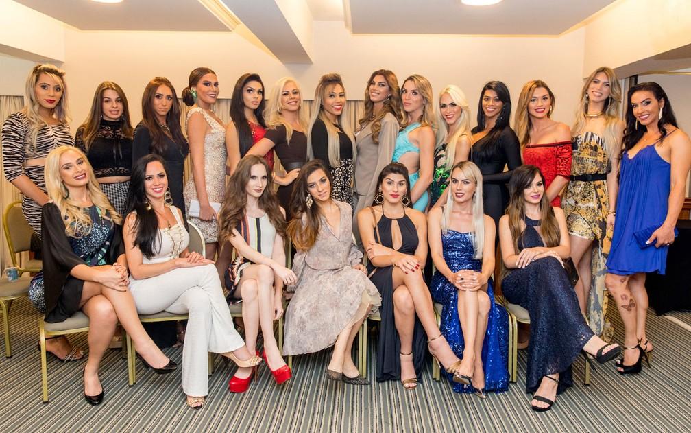 Candidatas do concurso Miss T Brasil 2017 que será realizado nesta sexta-feira (21) em São Paulo (Foto: Marcelo Brandt/G1)