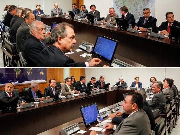 Dilma Rousseff e ministros em reunião com líderes do Senado e da Câmara no Palácio do Planalto (Foto: Roberto Stuckert Filho/PR)