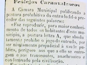Proibição de entrudo  (Foto: Divulgação/Livro História do Carnaval da Bahia - 130 Anos do Carnaval de Salvador)
