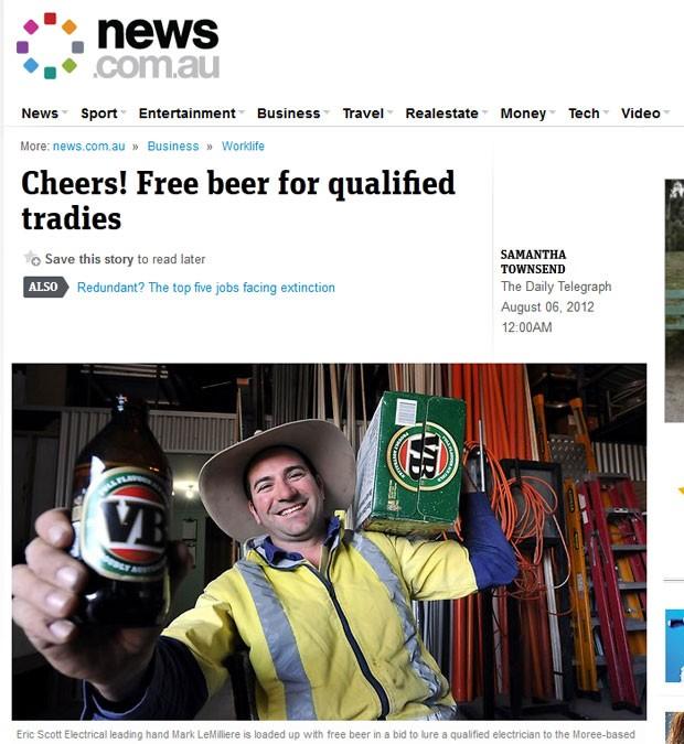 Empresa de Nova Gales do Sul está oferecendo cerveja de graça por um ano para atrair mão-de-obra qualificada. (Foto: Reprodução)